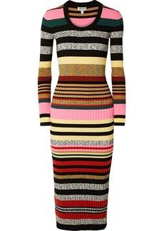 Kenzo Striped Ribbed-knit Midi Dress