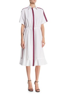 Kenzo Striped Short-Sleeve Flounce Shirtdress
