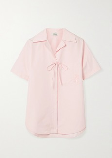 Kenzo Tie-detailed Embroidered Cotton-poplin Shirt