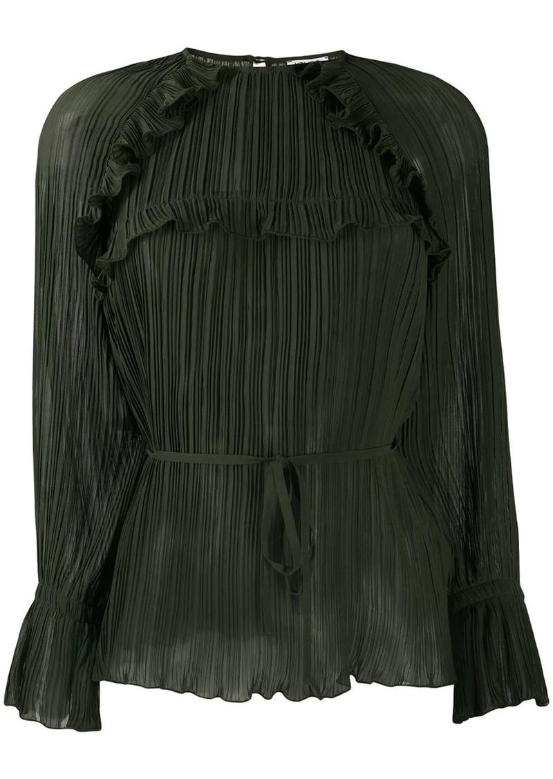 Kenzo tie waist pleated top