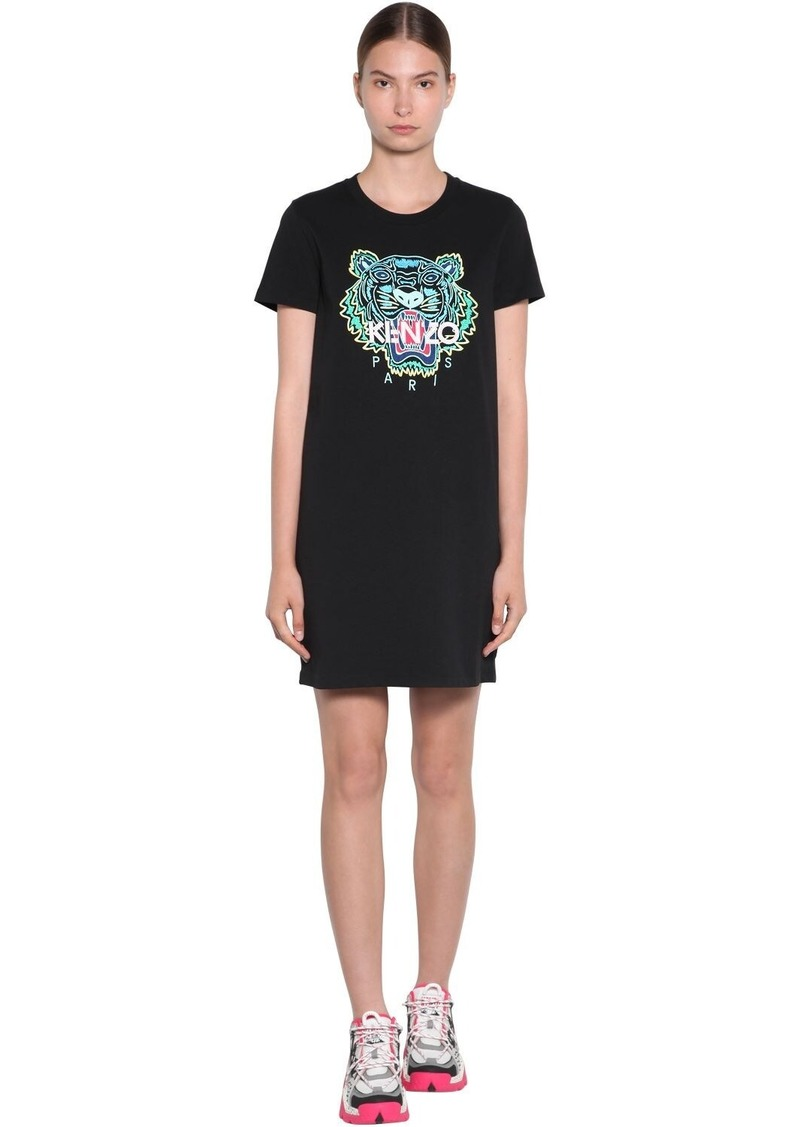 Kenzo Tiger Embroidered Cotton Sweat Dress