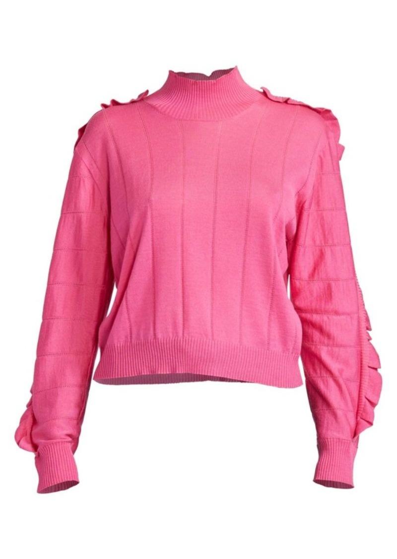 Kenzo Turtleneck Ruffle Wool Silk Sweater