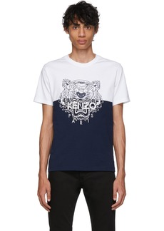 Kenzo White & Navy Limited Edition Colorblock Tiger T-Shirt