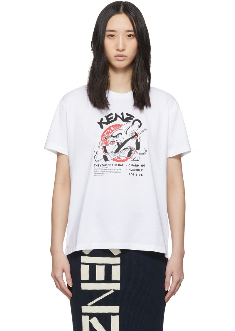 Kenzo White Limited Edition Chinese New Year Kung Fu Rat T-Shirt