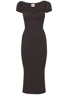 Khaite Allegra Cap Sleeve Bustier Midi Dress