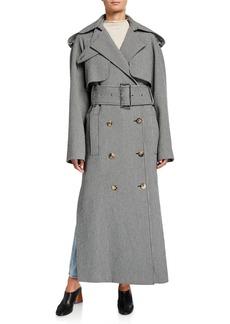 Khaite Binx Herringbone Trench Coat