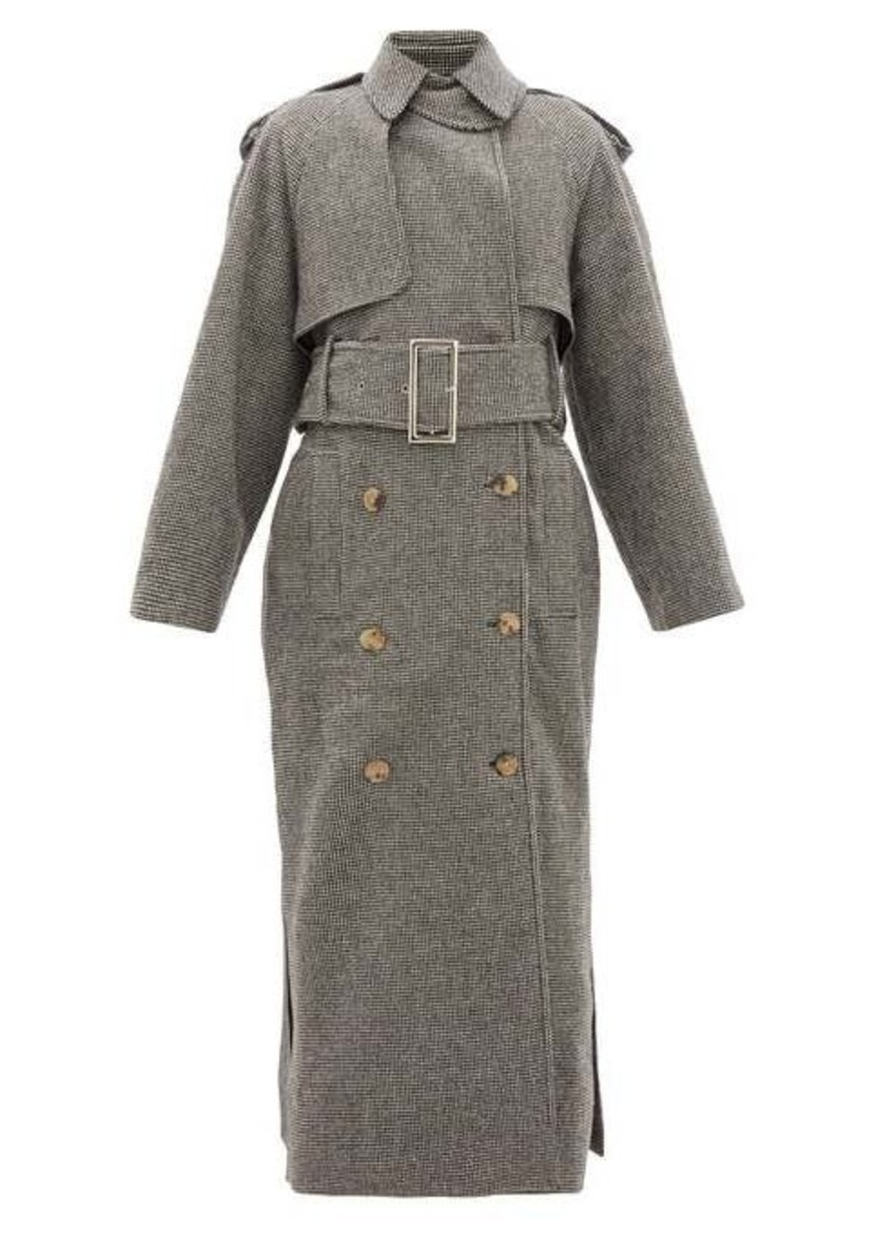 Khaite Binx houndstooth double-breasted wool-blend coat