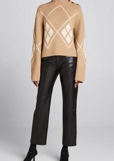 Khaite Brie Diamond-Pattern Button-Shoulder Cashmere Sweater