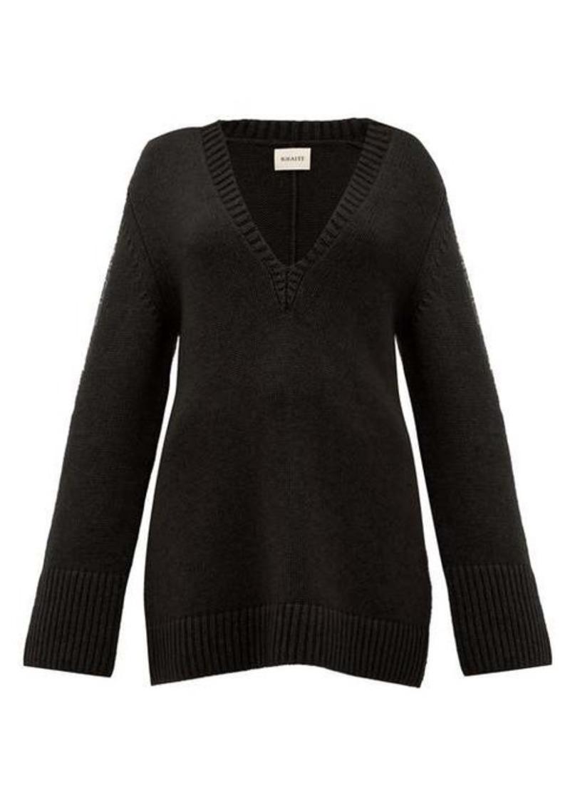 Khaite Dana braided-applique cashmere sweater
