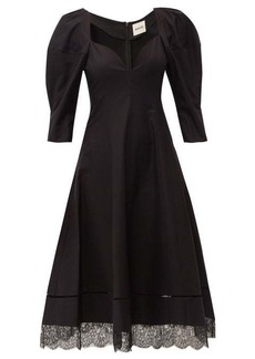 Khaite Dina puff-sleeve cotton midi dress