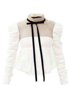 Khaite Fanny tulle and satin-back crepe peplum blouse