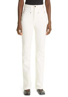 Khaite Isabella High Waist Straight Leg Jeans (Ivory)