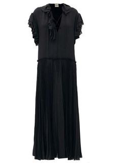 Khaite Kaelan lace-up ruffle-trimmed silk maxi dress