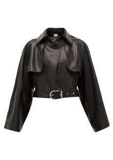 Khaite Krista cropped leather biker jacket