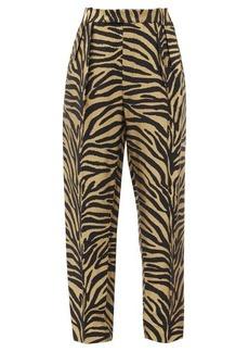 Khaite Magdeline high-rise zebra-print twill trousers
