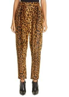 Khaite Magdeline Leopard Print High Waist Velvet Pants