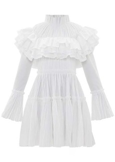 Khaite Ruffled high-neck cotton-plissé dress