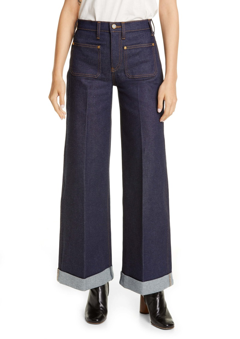 Khaite The Ray Roll Cuff Wide Leg Jeans