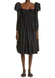 Khaite Trisha Long Sleeve Satin Babydoll Dress