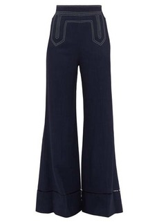 Khaite Vera contrast-stitch wide-leg trousers