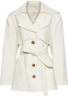 Khaite Woman Billy Belted Cotton-gabardine Jacket Cream