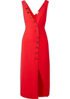 Khaite Woman Button-detailed Piqué Midi Dress Red