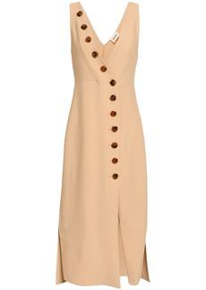 Khaite Woman Christy Button-detailed Piqué Midi Dress Beige