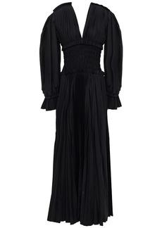 Khaite Woman Dawny Shirred Pleated Cotton-poplin Maxi Dress Black
