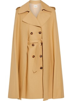 Khaite Woman Donna Convertible Double-breasted Cotton-gabardine Cape Sand