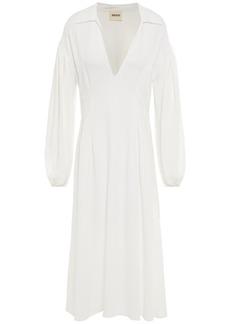 Khaite Woman Farrely Crepe De Chine Midi Dress Off-white