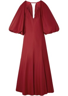 Khaite Woman Joanna Open-back Cotton-twill Maxi Dress Claret