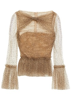 Khaite Woman Joey Cutout Flocked Glittered Tulle Peplum Blouse Sand
