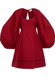 Khaite Woman Madison Open-back Lattice-trimmed Cotton-twill Dress Claret