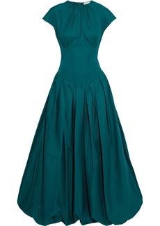Khaite Woman Rita Gathered Cotton-poplin Maxi Dress Emerald