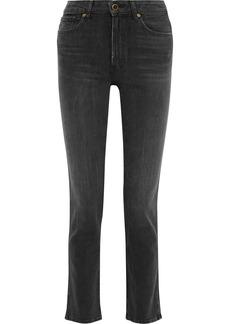 Khaite Woman Victoria Faded High-rise Straight-leg Jeans Black