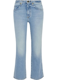 Khaite Woman Vivian Faded High-rise Kick-flare Jeans Light Denim