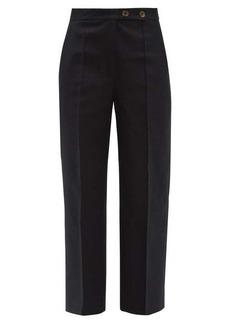 Khaite Yasmin wide-leg cotton-twill trousers