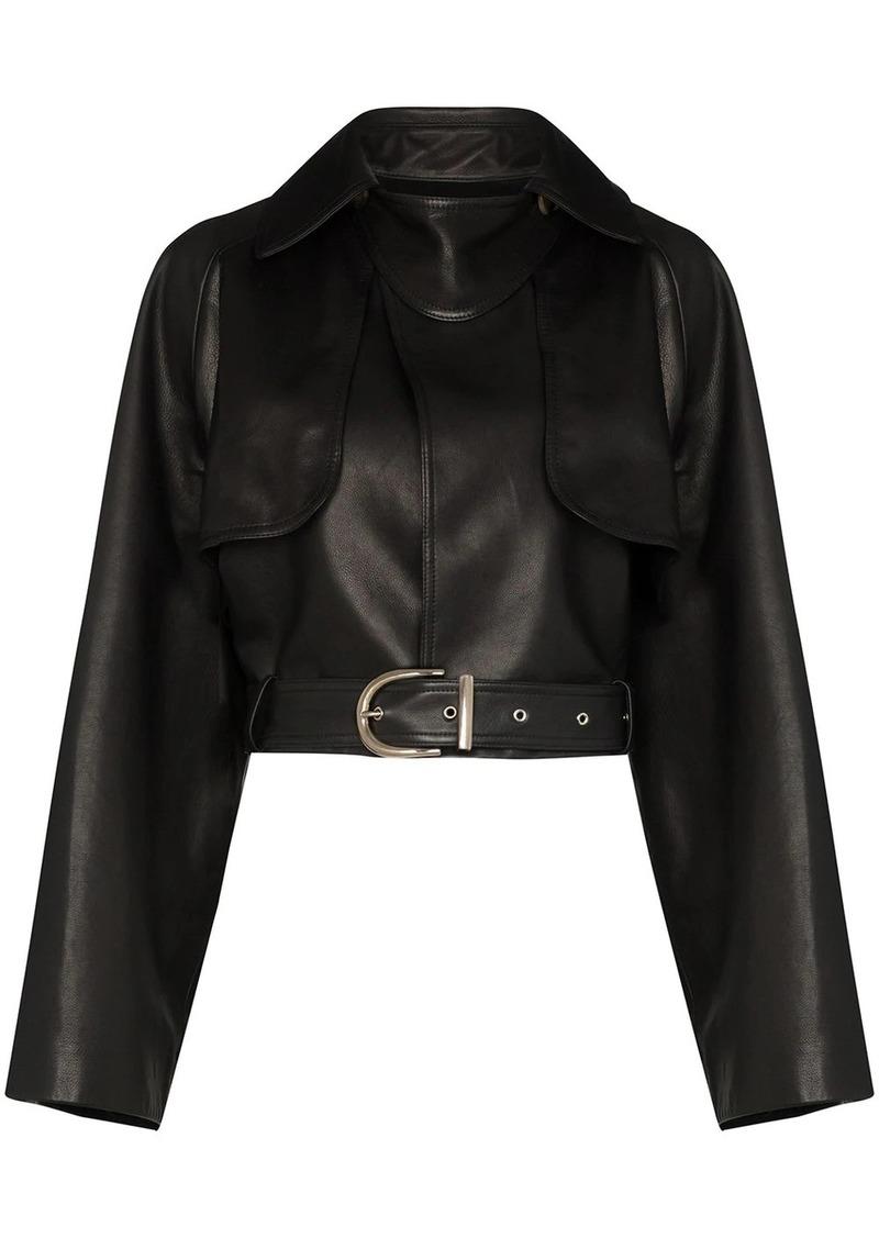 Khaite krista cropped leather jacket