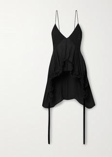 Khaite Lolla Asymmetric Ruched Silk-georgette Top