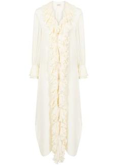 Khaite ruffled-trim shirt maxi dress