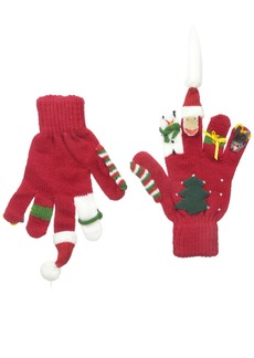 Kidorable  Christmas Soft Acrylic Gloves w/Santa Snowman Reindeer and More Medium (Ages 6-8)