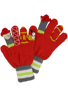 Kidorable Fireman Knit Kids Gloves Big Kids  Ages 9+ Soft  Acrylic Knit Winter Gloves With Fire Fighter Finger Puppets