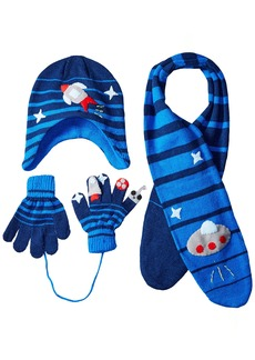 Kidorable  Space Hero Soft Hat/Scarf/Glove Set for Boys With Fun Aliens and Rockets Ages 3-5