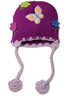 Kidorable Purple  Soft Acrylic Knit Hat for Girls With Fun 3-D Flowers  Fits Most