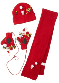Kidorable  Christmas Soft Hat/Scarf/Glove Set With Santa Snowman Reindeer and More Ages 3-5