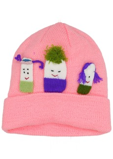 Kidorable Pink  Soft Acrylic Knit Hat for Girls w/Three Fun Characters 1 Size Fits Most