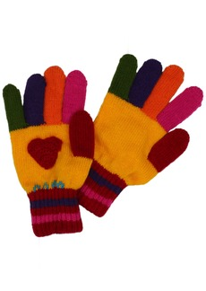 Kidorable  Heart Soft Acrylic Gloves for Girls w/Fun Flowers and Multicolor Fingers Ages 6-8