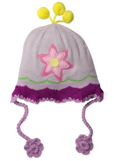 Kidorable Pink  Flower Knit Hat for Girls w/Fun Crocheted Flowers Pompoms 1 Size Fits Most
