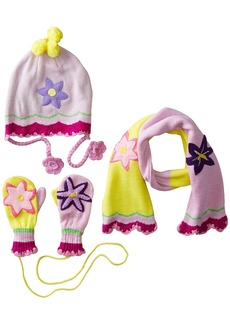 Kidorable Pink and  Lotus Flower Soft Acrylic Knit Hat/Scarf/Mitten Set for Girls Ages 6-8