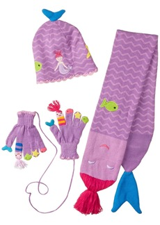 Kidorable  Mermaid Soft Knit Hat/Scarf/Glove Set for Girls With Fun Stars and Fish Ages 6-8